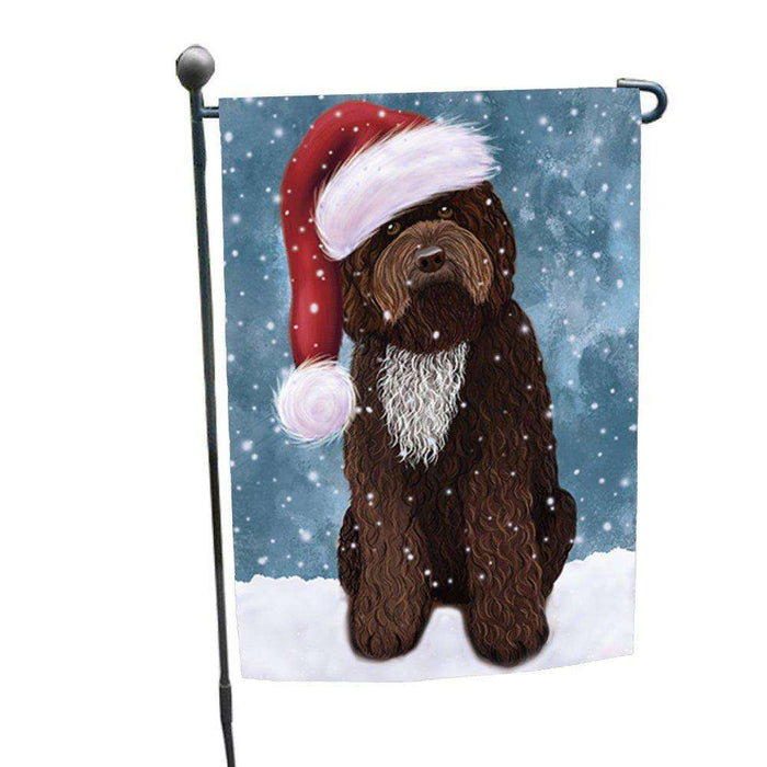 Let it Snow Christmas Holiday Barbet Dog Wearing Santa Hat Garden Flag