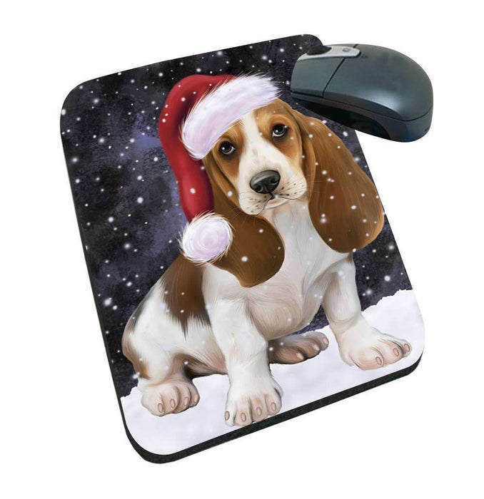 Let it Snow Christmas Holiday Basset Hounds Dog Wearing Santa Hat Mousepad