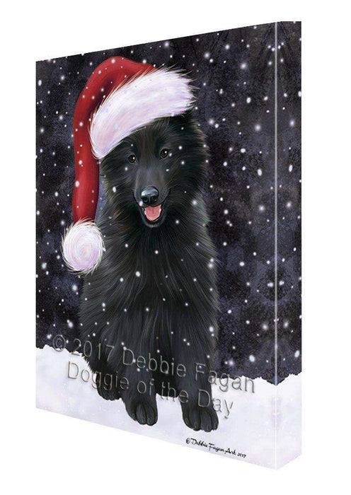 Let it Snow Christmas Holiday Belgian Shepherds Dog Wearing Santa Hat Canvas Wall Art