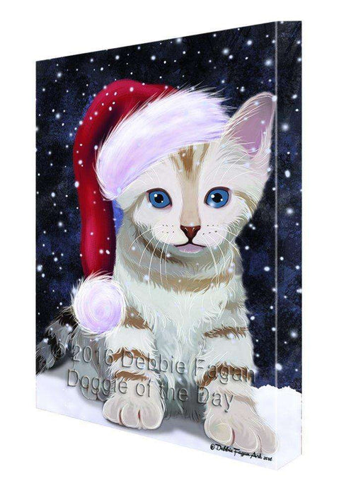 Let it Snow Christmas Holiday Bengal Cat Wearing Santa Hat Canvas Wall Art