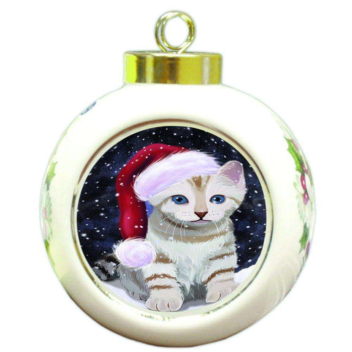 Let it Snow Christmas Holiday Bengal Cat Wearing Santa Hat Round Ball Ornament D310