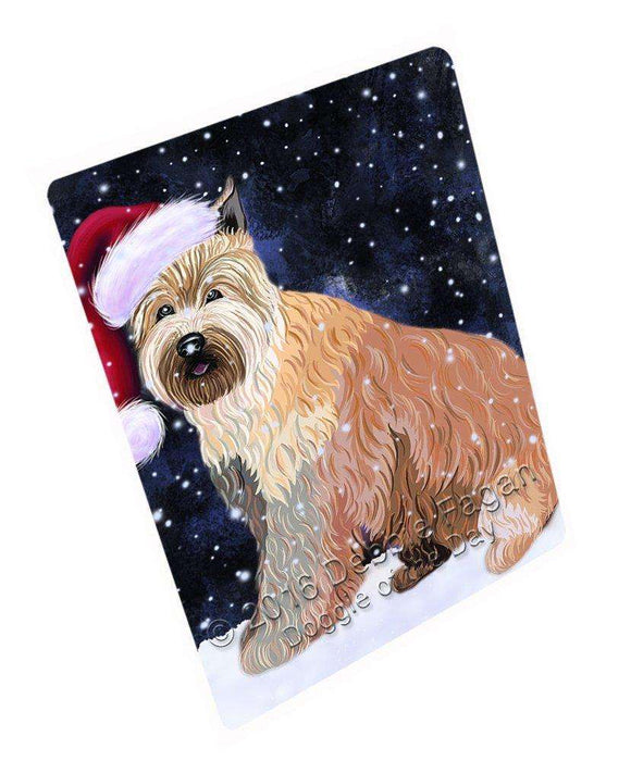 Let it Snow Christmas Holiday Berger Picard Dog Wearing Santa Hat Art Portrait Print Woven Throw Sherpa Plush Fleece Blanket