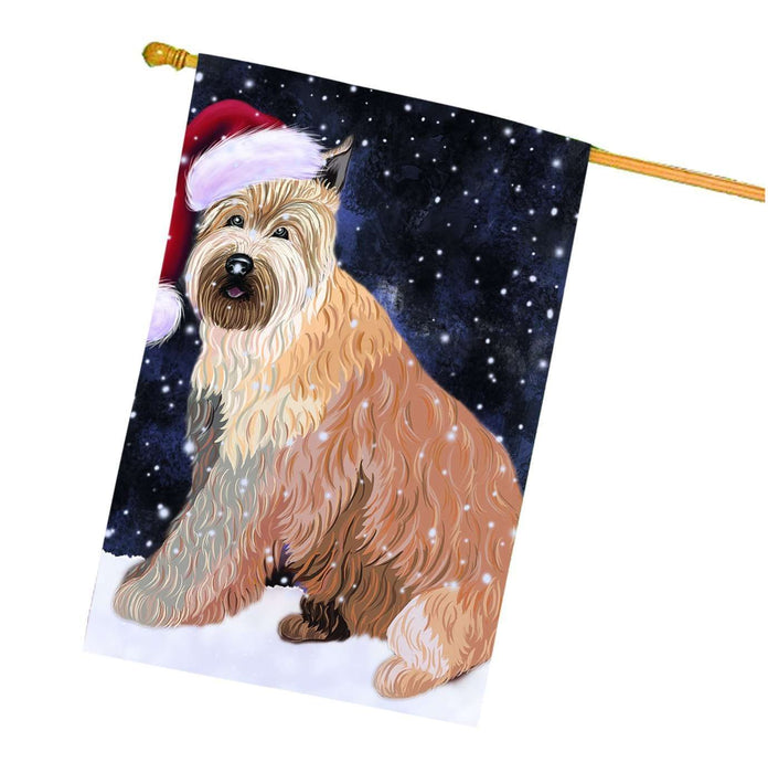 Let it Snow Christmas Holiday Berger Picard Dog Wearing Santa Hat House Flag