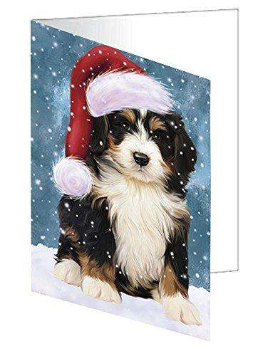 Let it Snow Christmas Holiday Bernedoodle Dog Wearing Santa Hat Greeting Card