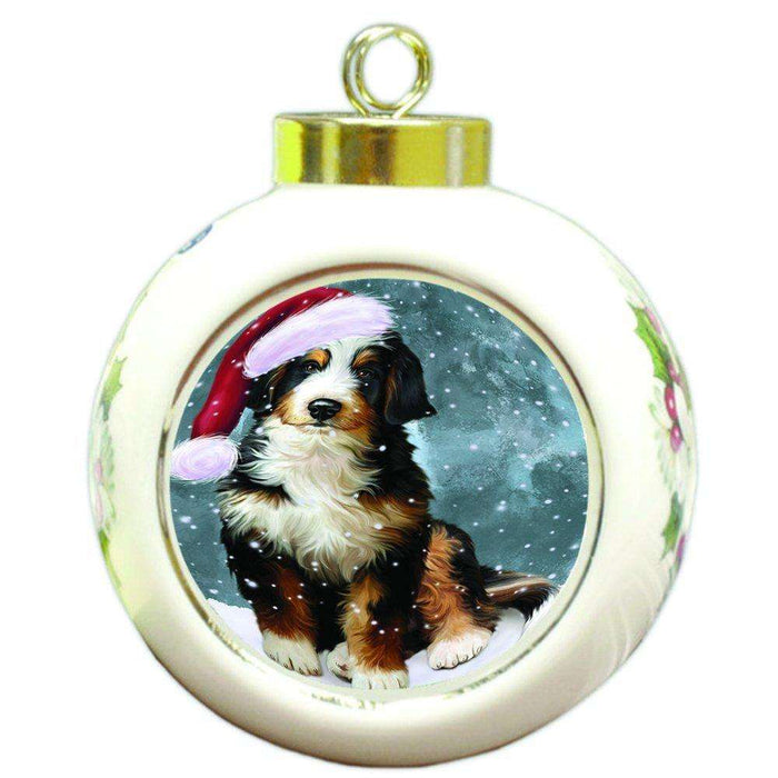 Let it Snow Christmas Holiday Bernedoodle Dog Wearing Santa Hat Round Ball Ornament D313
