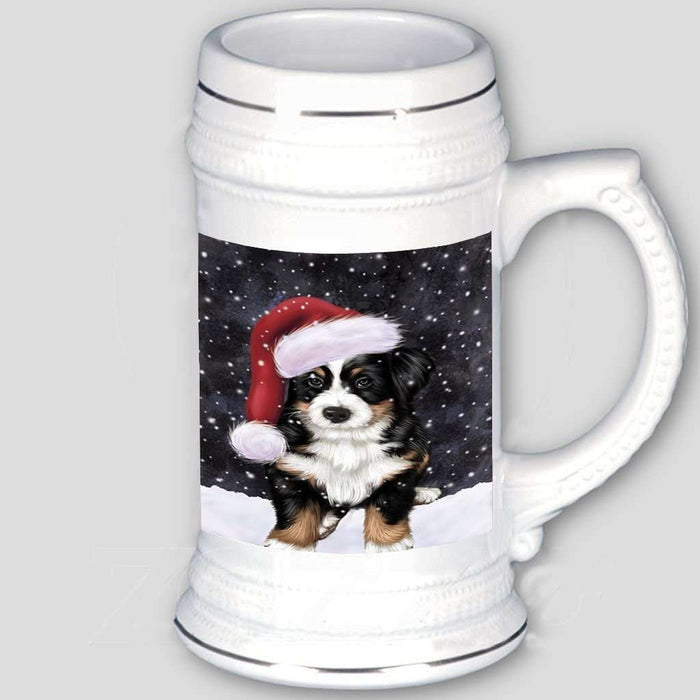 Let it Snow Christmas Holiday Bernese Dog Wearing Santa Hat Beer Stein