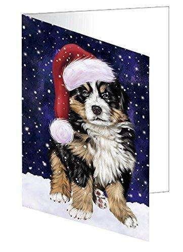 Let it Snow Christmas Holiday Bernese Dog Wearing Santa Hat Greeting Card