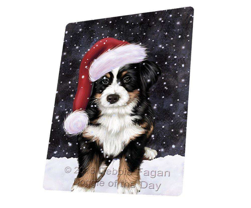 "Let It Snow Christmas Holiday Bernese Dog Wearing Santa Hat Magnet Mini (3.5"" x 2"")"