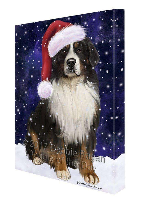 Let it Snow Christmas Holiday Bernese Mountain Dog Wearing Santa Hat Canvas Wall Art D219