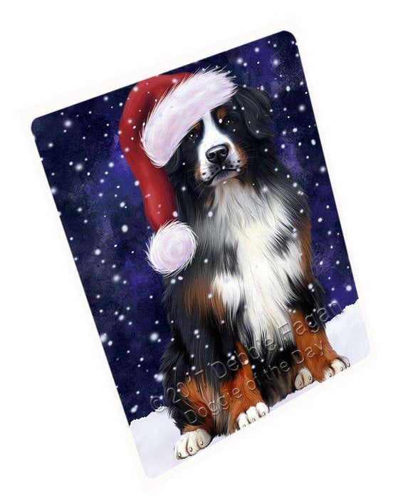 Let it Snow Christmas Holiday Bernese Mountain Dog Wearing Santa Hat Large Refrigerator / Dishwasher Magnet D017