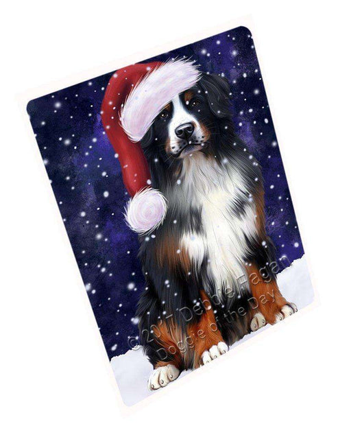 "Let It Snow Christmas Holiday Bernese Mountain Dog Wearing Santa Hat Magnet Mini (3.5"" x 2"") d017"