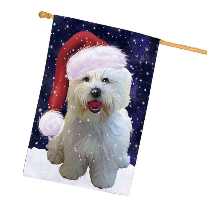 Let it Snow Christmas Holiday Bichon Frise Dog Wearing Santa Hat House Flag