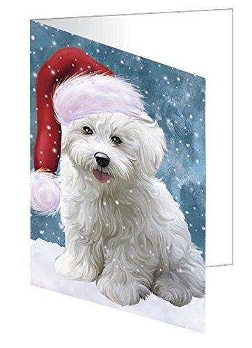 Let it Snow Christmas Holiday Bichon Frise Dog Wearing Santa Hat Note Card