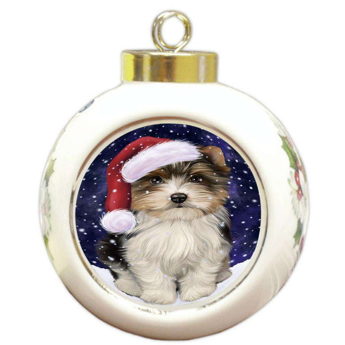 Let it Snow Christmas Holiday Biewer Terrier Dog Wearing Santa Hat Round Ball Christmas Ornament RBPOR54280