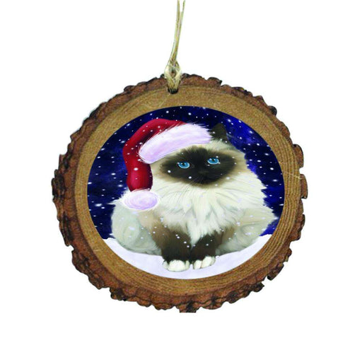 Let it Snow Christmas Holiday Birman Cat Wooden Christmas Ornament WOR48458