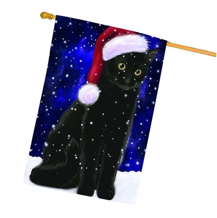 Let it Snow Christmas Holiday Black Cat Wearing Santa Hat House Flag