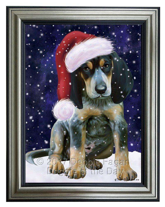Let it Snow Christmas Holiday Bluetick Coonhound Dog Wearing Santa Hat Framed Canvas Print Wall Art