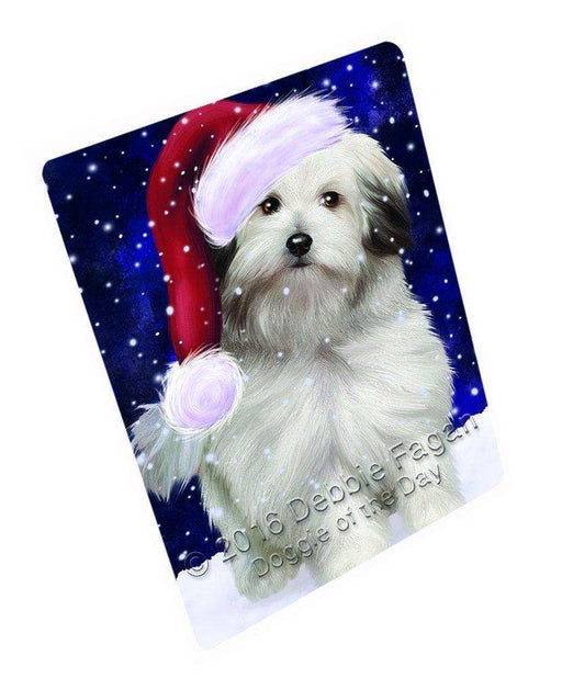 "Let It Snow Christmas Holiday Bolognese Dogs Wearing Santa Hat Magnet Small (5.5"" x 4.25"")"