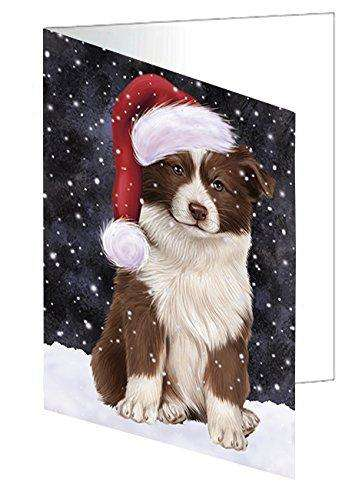 Let it Snow Christmas Holiday Border Collie Dog Wearing Santa Hat Greeting Card