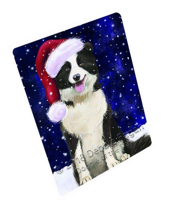 Let it Snow Christmas Holiday Border Collie Dog Wearing Santa Hat Large Refrigerator / Dishwasher Magnet D273