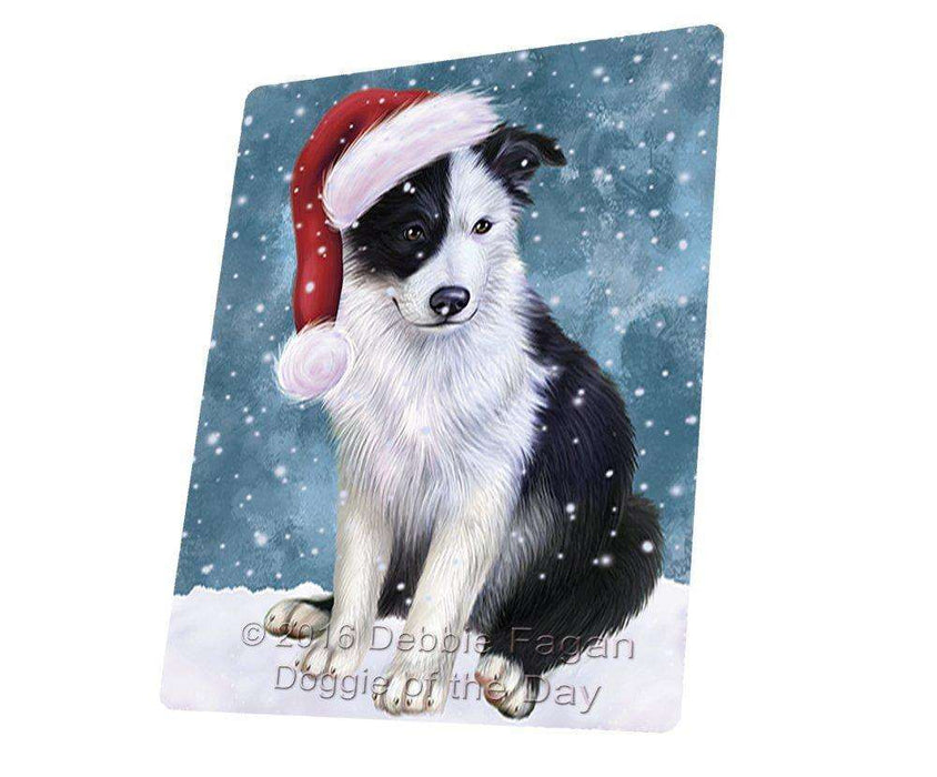 "Let It Snow Christmas Holiday Border Collie Dog Wearing Santa Hat Magnet Mini (3.5"" x 2"")"