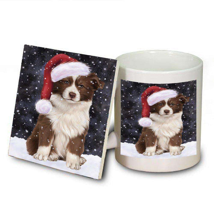 Let it Snow Christmas Holiday Border Collie Dog Wearing Santa Hat Mug and Coaster Set