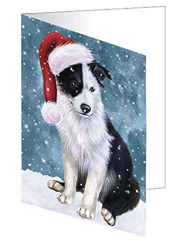 Let it Snow Christmas Holiday Border Collie Dog Wearing Santa Hat Note Card