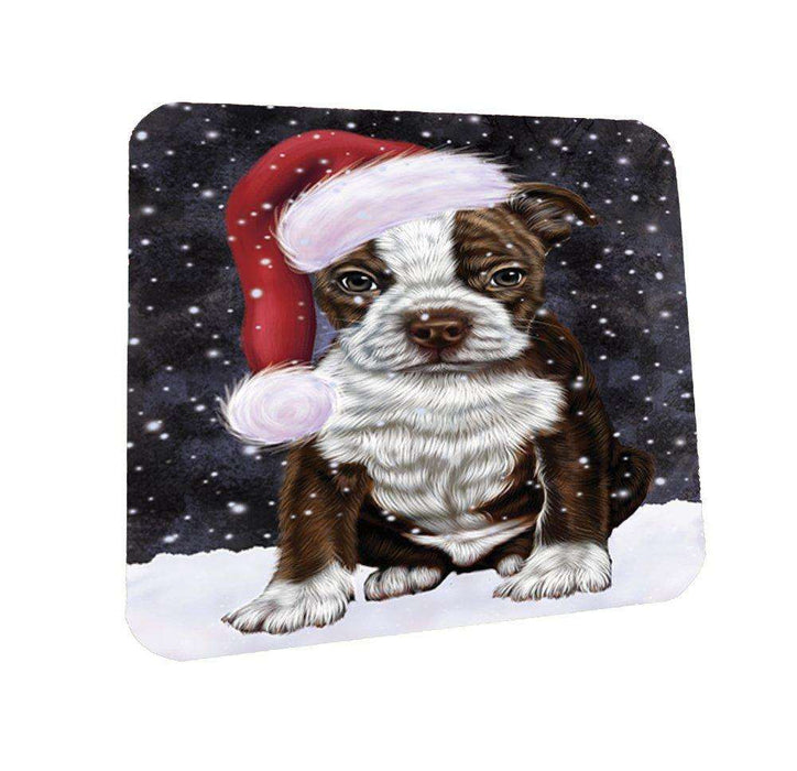 Let it Snow Christmas Holiday Boston Terriers Dog Wearing Santa Hat Coasters Set of 4