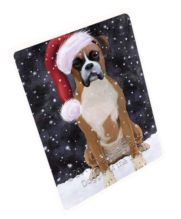 "Let It Snow Christmas Holiday Boxer Dog Wearing Santa Hat Magnet Mini (3.5"" x 2"") D019"