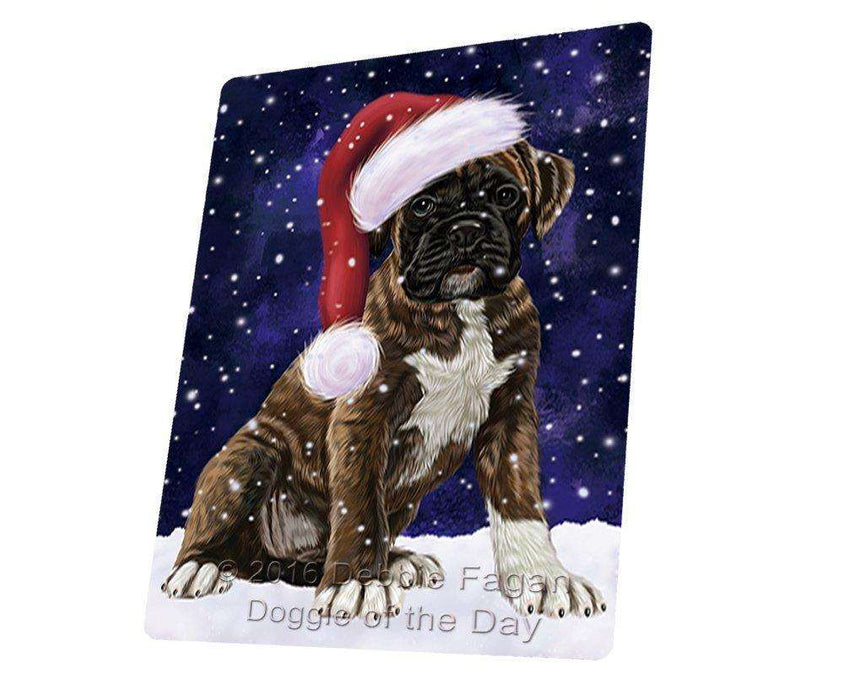 Let it Snow Christmas Holiday Boxers Dog Wearing Santa Hat Art Portrait Print Woven Throw Sherpa Plush Fleece Blanket