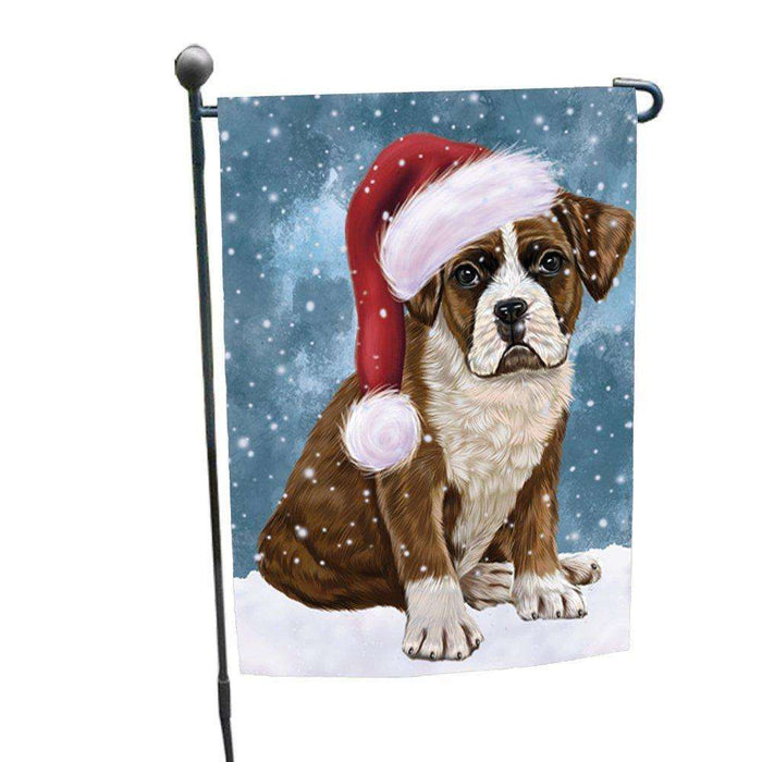 Let it Snow Christmas Holiday Boxers Dog Wearing Santa Hat Garden Flag