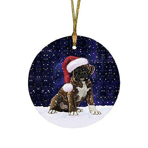 Let it Snow Christmas Holiday Boxers Dog Wearing Santa Hat Round Ornament