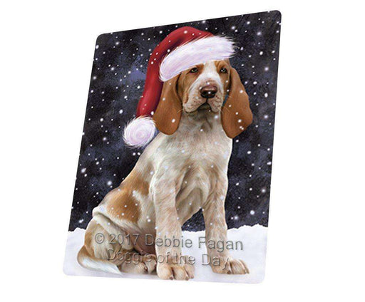 "Let It Snow Christmas Holiday Bracco Italiano Dog Wearing Santa Hat Magnet Small (5.5"" x 4.25"")"