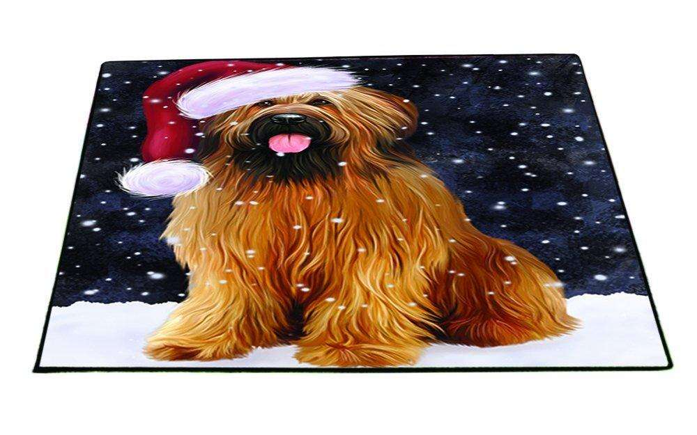 Let it Snow Christmas Holiday Briards Dog Wearing Santa Hat Indoor/Outdoor Floormat