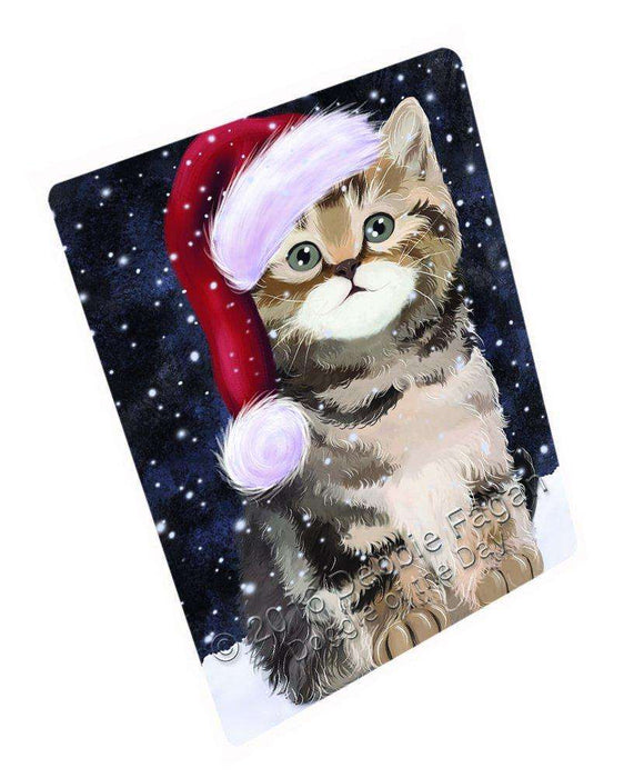 Let it Snow Christmas Holiday British Shorthair Cat Wearing Santa Hat Art Portrait Print Woven Throw Sherpa Plush Fleece Blanket