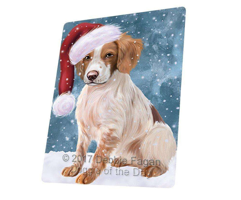 Let it Snow Christmas Holiday Brittany Spaniel Dog Wearing Santa Hat Art Portrait Print Woven Throw Sherpa Plush Fleece Blanket D106