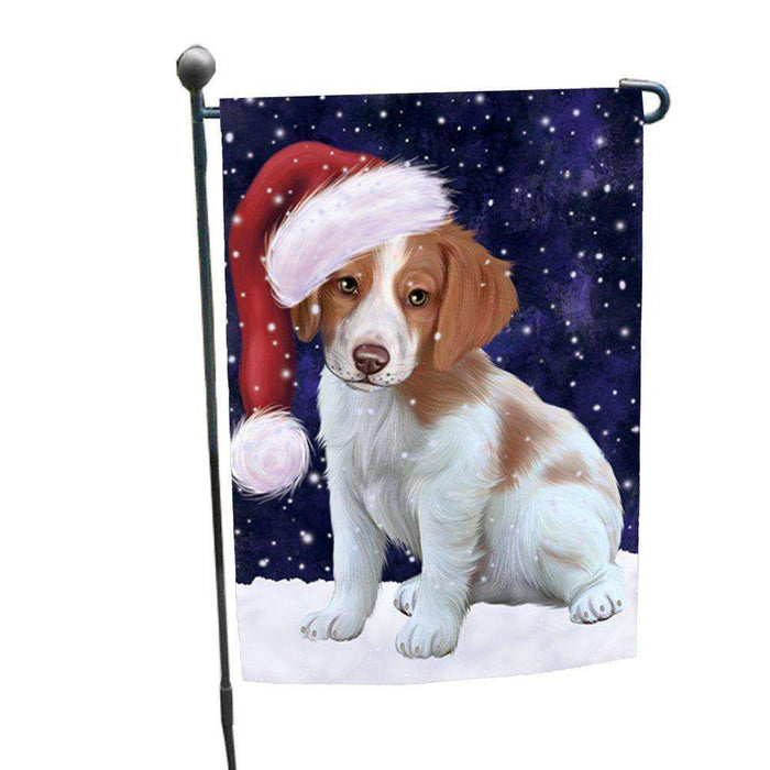 Let it Snow Christmas Holiday Brittany Spaniel Dog Wearing Santa Hat Garden Flag FLG105
