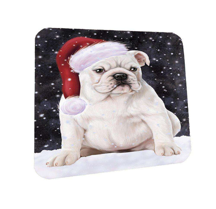 Let it Snow Christmas Holiday Bulldog Dog Wearing Santa Hat Coasters Set of 4