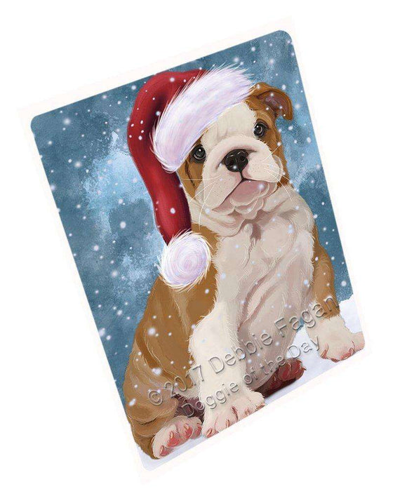 Let it Snow Christmas Holiday Bulldog Puppy Dog Wearing Santa Hat Large Refrigerator / Dishwasher Magnet D022