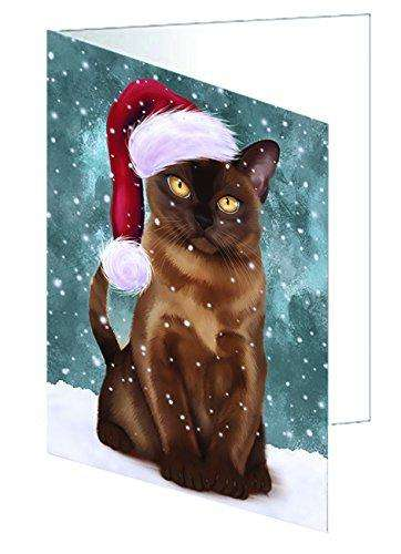 Let it Snow Christmas Holiday Burmese Cat Wearing Santa Hat Greeting Card