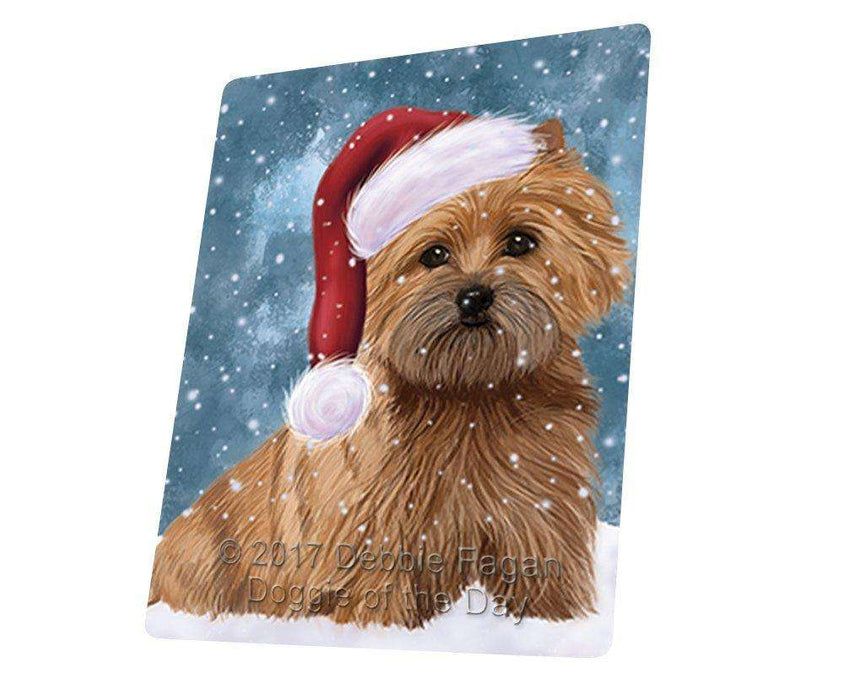"Let It Snow Christmas Holiday Cairn Terrier Dog And Santa Hat Magnet Mini (3.5"" x 2"")"
