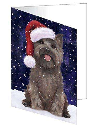 Let it Snow Christmas Holiday Cairn Terrier Dog Wearing Santa Hat Greeting Card D376