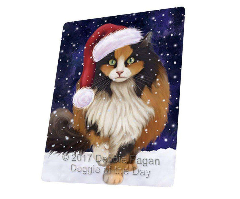 "Let It Snow Christmas Holiday Calico Cat Wearing Santa Hat Magnet Mini (3.5"" x 2"")"