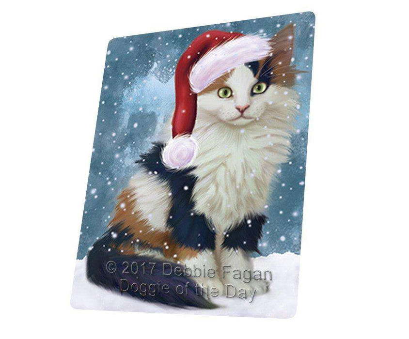 Let it Snow Christmas Holiday Calico Kitten Dog Wearing Santa Hat Art Portrait Print Woven Throw Sherpa Plush Fleece Blanket D068
