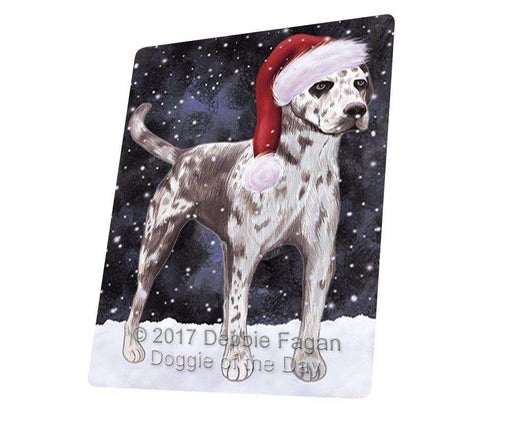 "Let It Snow Christmas Holiday Catahoula Leopard Dog Wearing Santa Hat Magnet Small (5.5"" x 4.25"") d223"