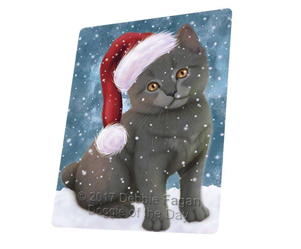 "Let It Snow Christmas Holiday Chartreux Kitten Cat Wearing Santa Hat Magnet Mini (3.5"" x 2"")"