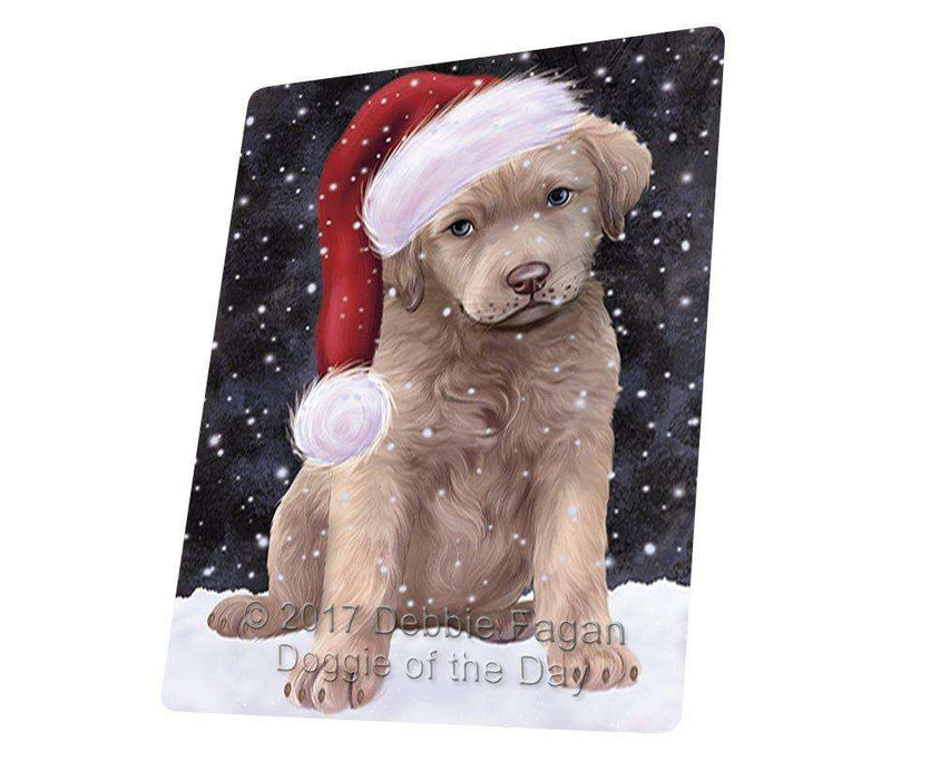 "Let It Snow Christmas Holiday Chesapeake Bay Retriever Dog Wearing Santa Hat Magnet Mini (3.5"" x 2"") D107"