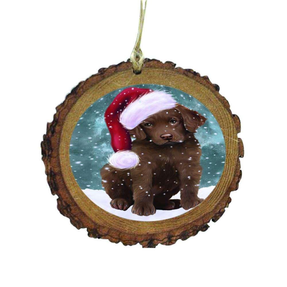 Let it Snow Christmas Holiday Chesapeake Bay Retriever Dog Wooden Christmas Ornament WOR48531