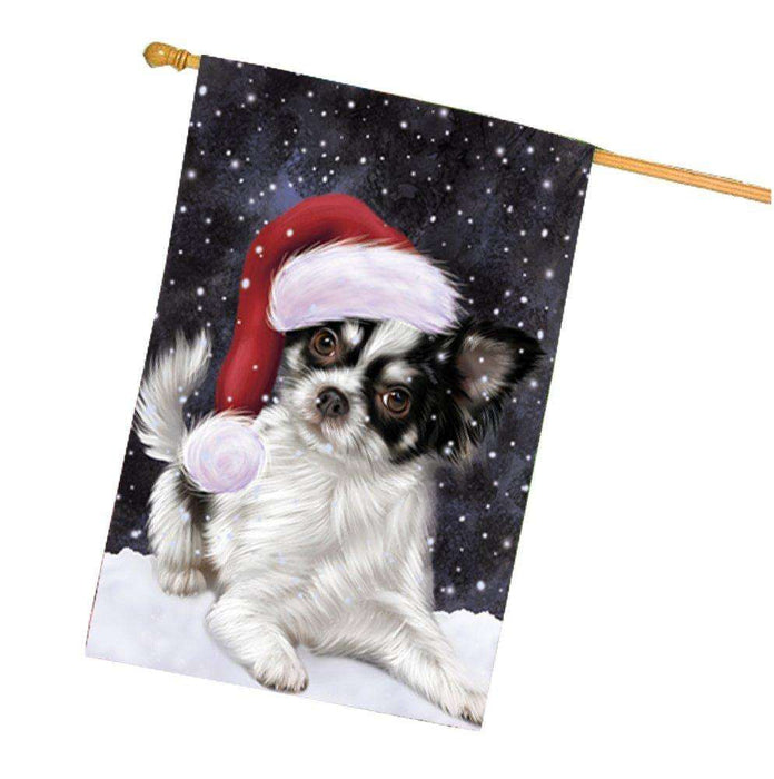 Let it Snow Christmas Holiday Chihuahua Dog Wearing Santa Hat House Flag HF268