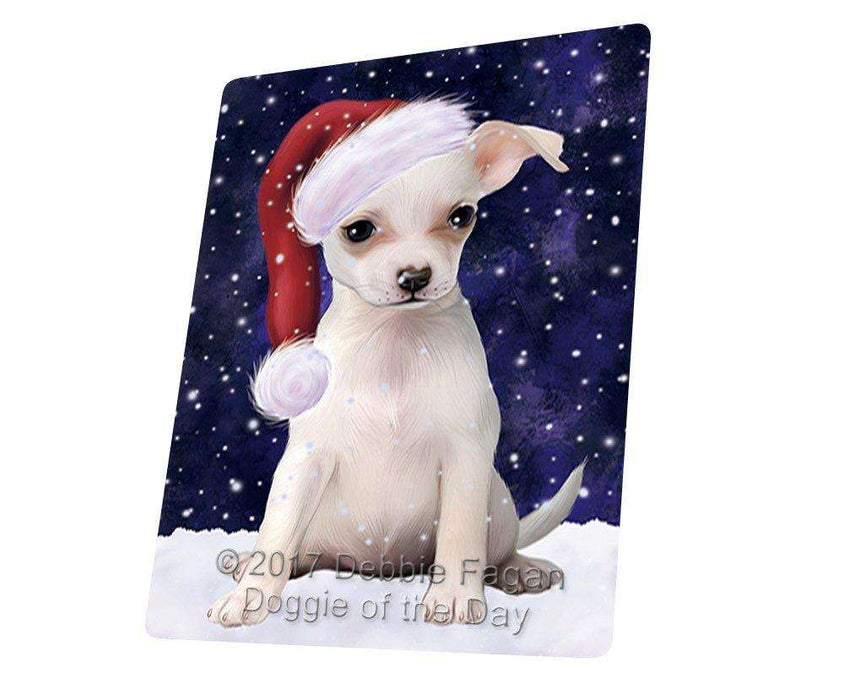 Let it Snow Christmas Holiday Chihuahua Dog Wearing Santa Hat Large Refrigerator / Dishwasher Magnet D068
